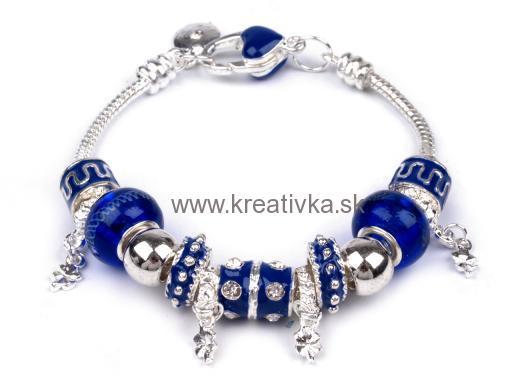 253e5db3c NÁRAMKY PANDORA STYLE | Náramok PANDORA style modrý GALVANIZOVANÝ ...