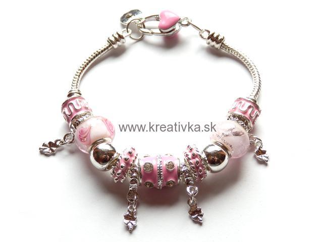 ac1fc07a9 NÁRAMKY PANDORA STYLE | Náramok PANDORA style sv. ružový ...