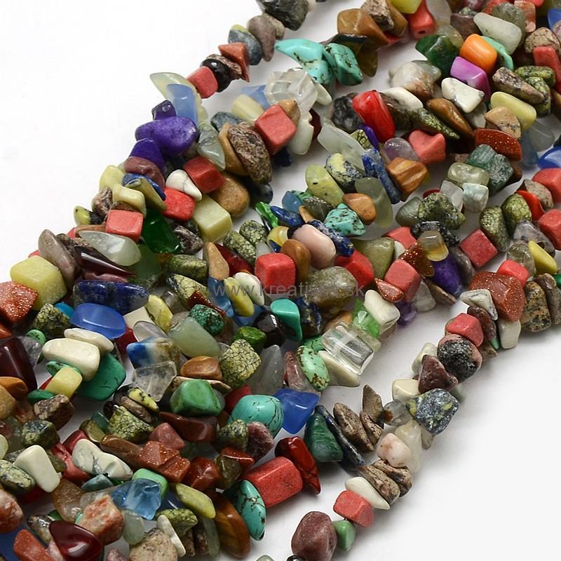 e3b90f55e KORÁLKY | MIX zlomky prírodné kamene, 1návlek: cca 90cm | KREATIVKA ...
