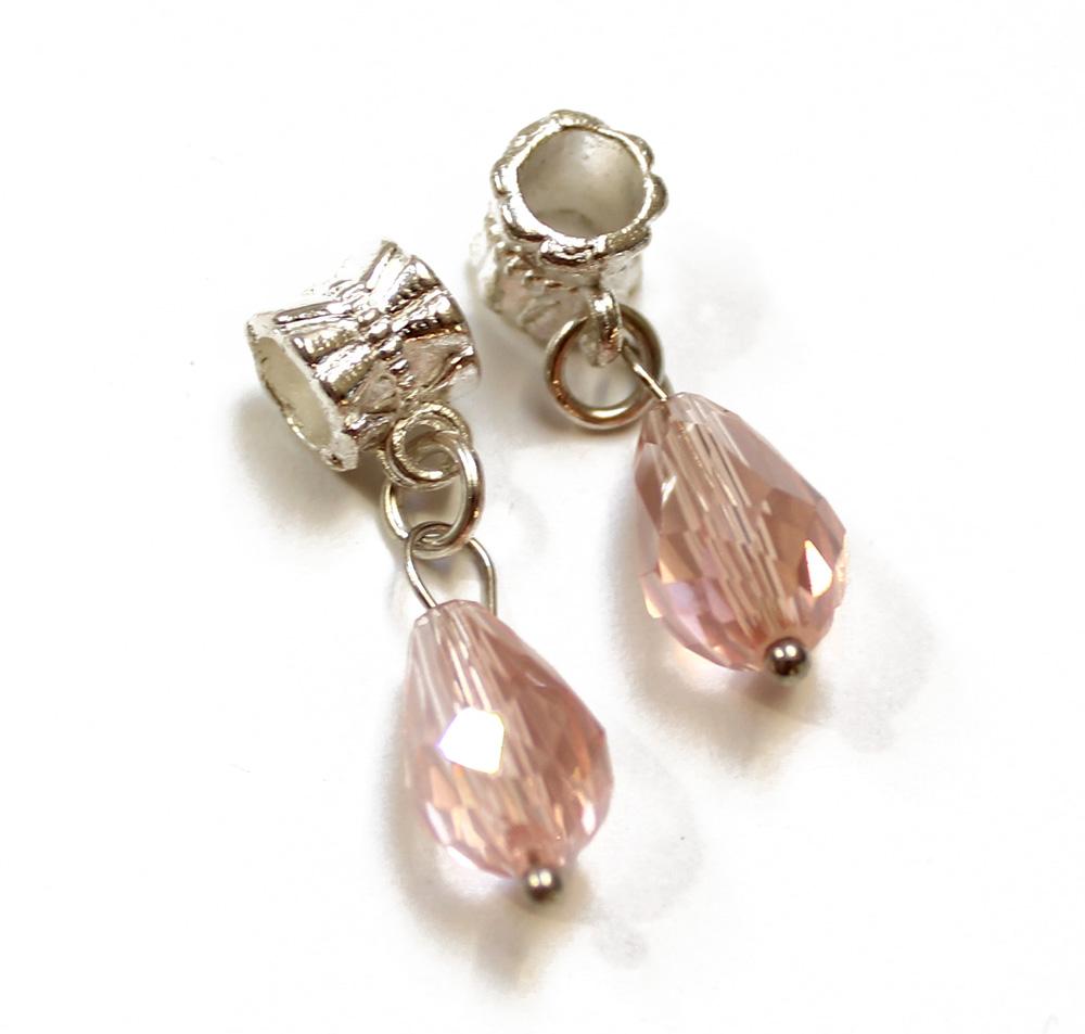c0a8e4152 Prívesok štýl pandora, strieborný kov + sklenená ružová brúsená slza 1ks  empty