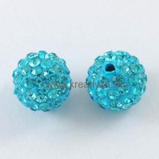 Shamballa 10mm sv. modrá 1ks